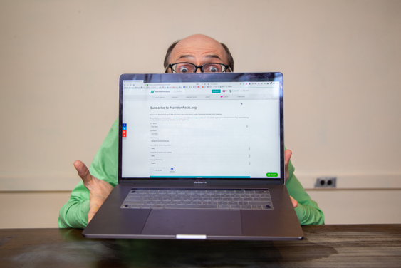 Dr. Greger with Computer